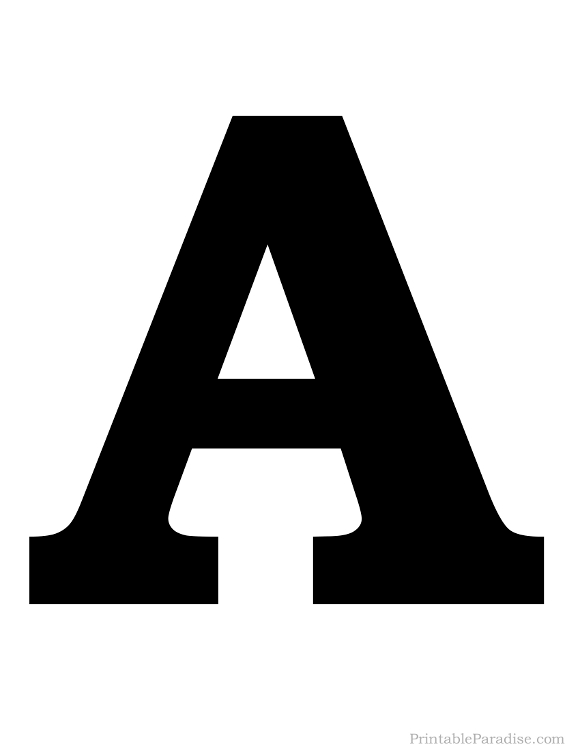 Printable Letter A Silhouette Print Solid Black Letter A