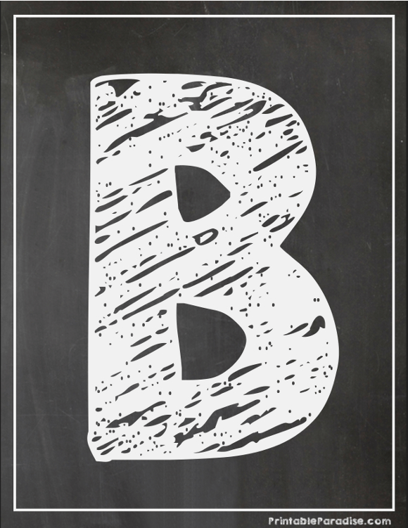 Printable Letter B Chalkboard Writing