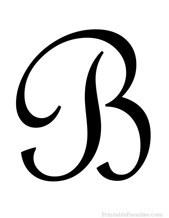 printable letter b in cursive writing
