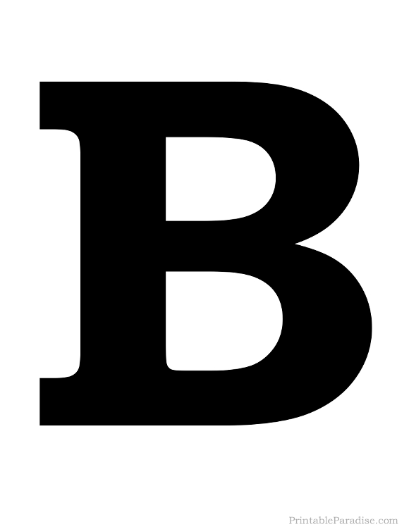 Printable Solid Black Letter B Silhouette