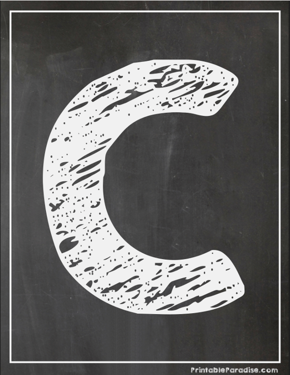 Printable Letter C Chalkboard Writing