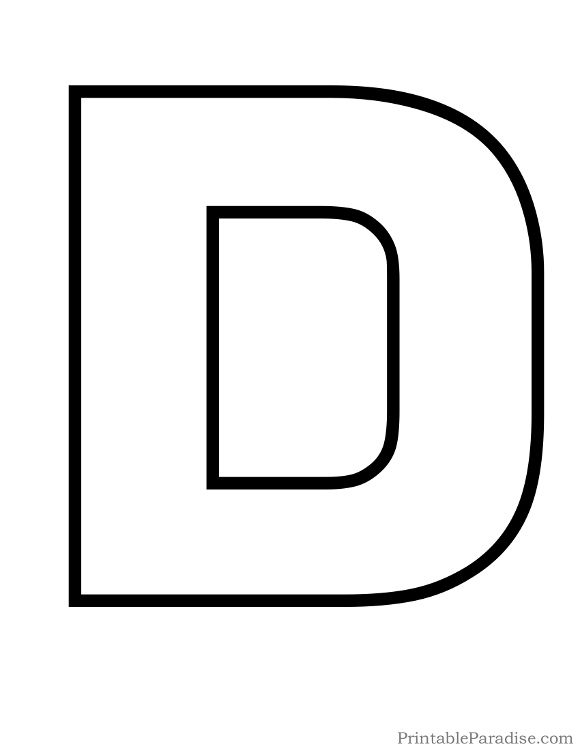 Printable Letter D Outline on Letter P Template