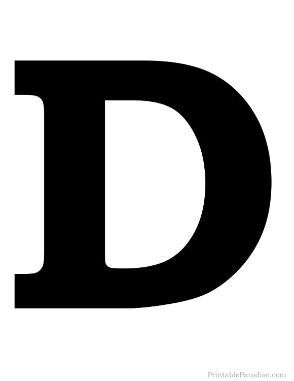 Printable Letter D Silhouette - Print Solid Black Letter D