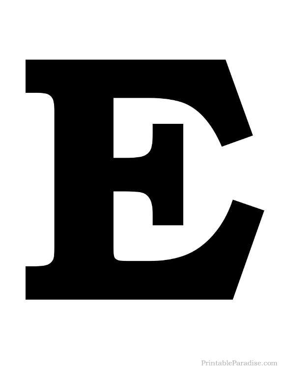 Printable Letter E Silhouette - Print Solid Black Letter E