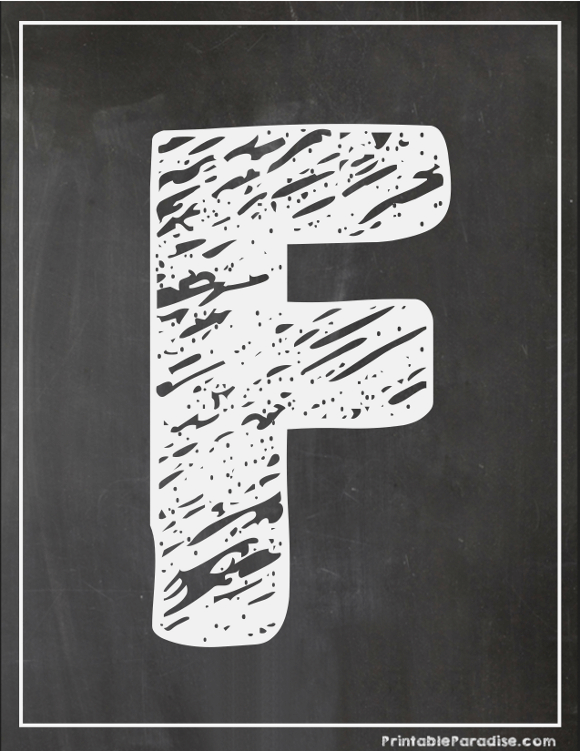 Printable Letter F Chalkboard Writing