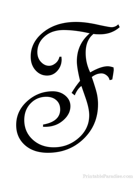 Printable Cursive Letter F - Print Letter F in Cursive Writing