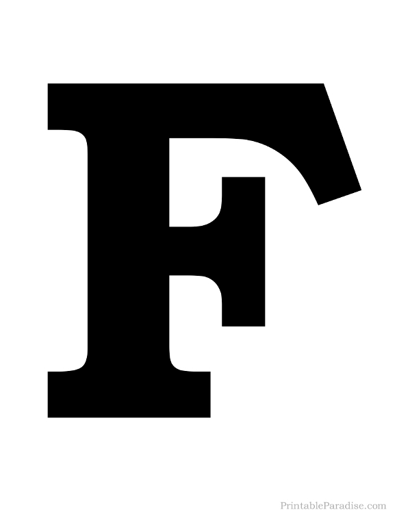 Printable Solid Black Letter F Silhouette