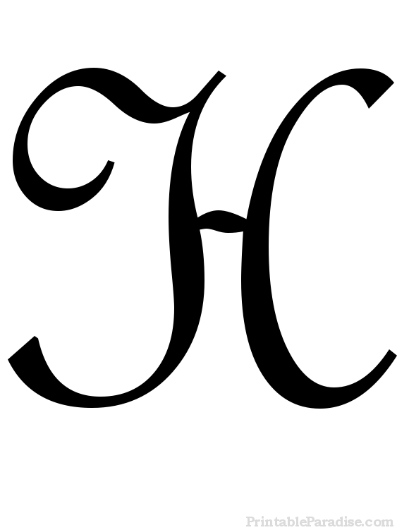 Printable Cursive Letter H - Print Letter H in Cursive Writing