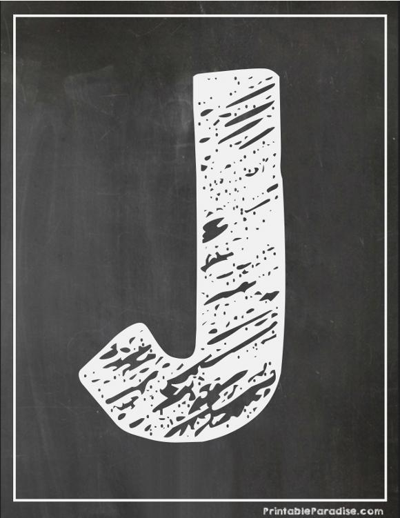 Printable Letter J Chalkboard Writing