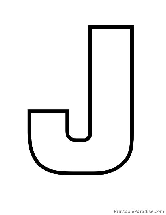 Printable Letter J Outline on Shapes Art For Preschool