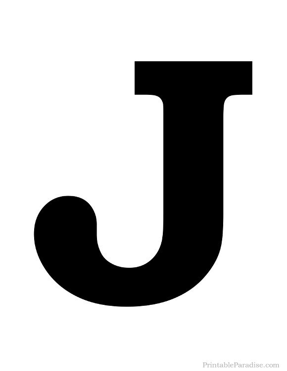 Printable Solid Black Letter J Silhouette