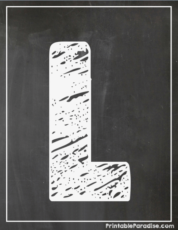 Printable Letter L Chalkboard Writing