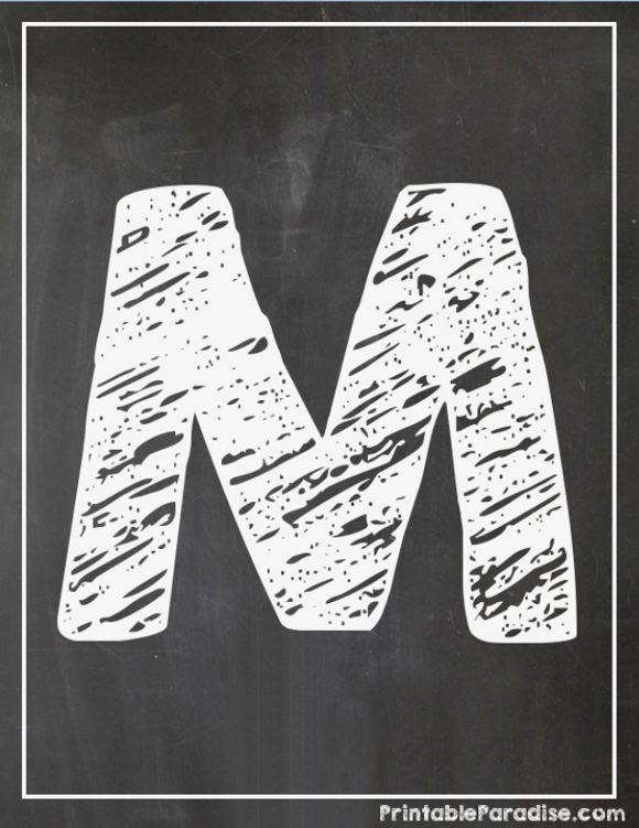 Printable Letter M Chalkboard Writing - Print Chalky Letter M