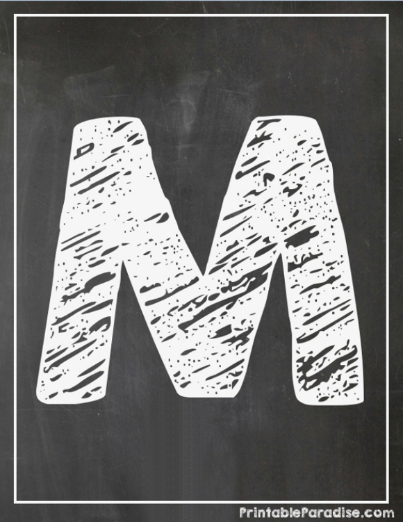 Printable Letter M Chalkboard Writing