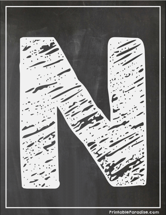 Printable Letter N Chalkboard Writing