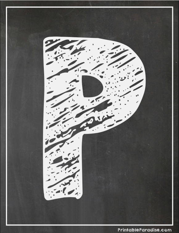 Printable Letter P Chalkboard Writing