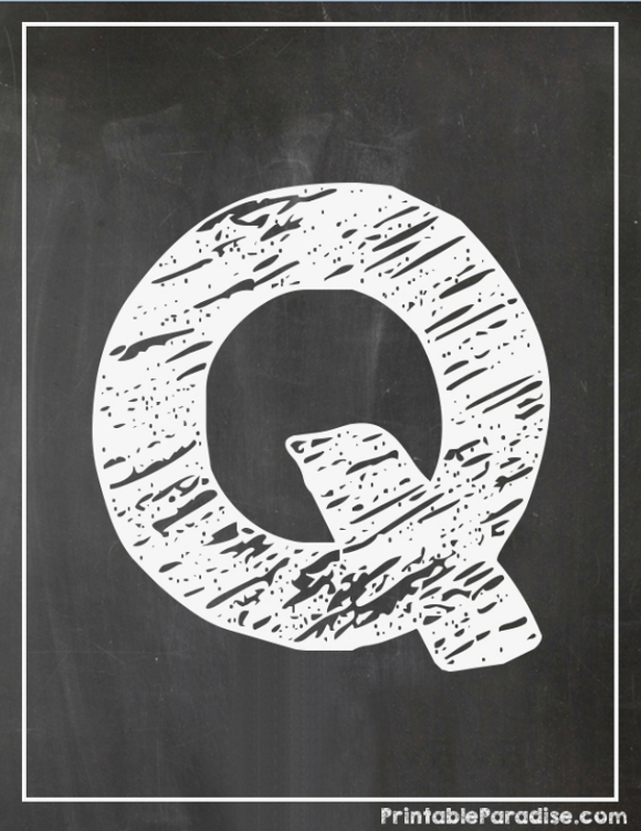 Printable Letter Q Chalkboard Writing