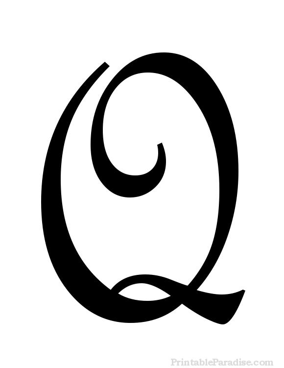 Printable Cursive Letter Q - Print Letter Q in Cursive Writing