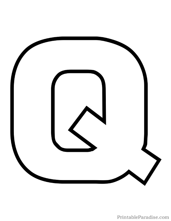 Printable Letter Q Outline - Print Bubble Letter Q