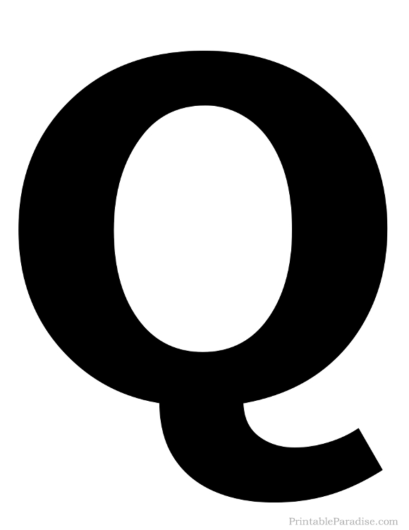 Printable Solid Black Letter Q Silhouette