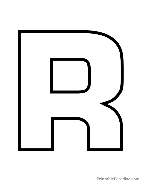 printable bubble letter r outline