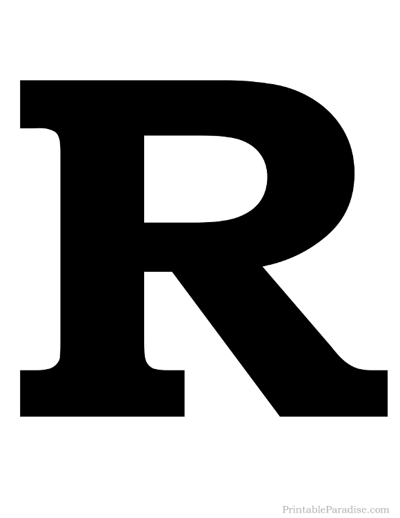 Printable Solid Black Letter R Silhouette
