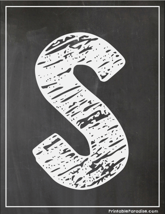 Printable Letter S Chalkboard Writing