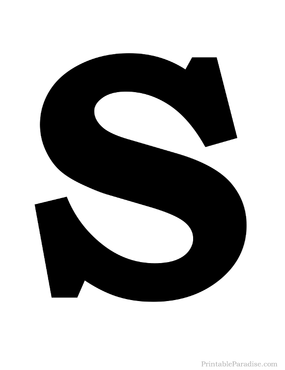 Printable Solid Black Letter S Silhouette
