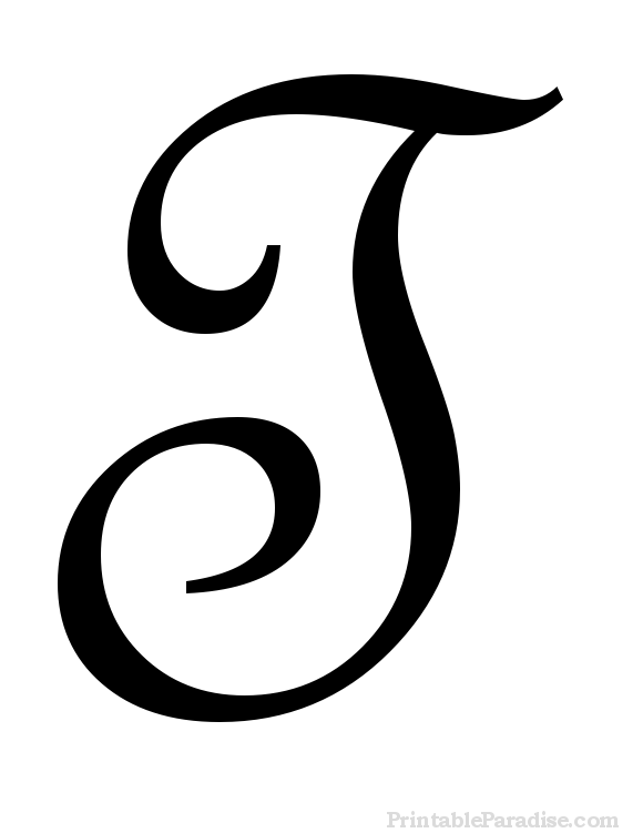 Printable Letter T in Cursive Writing