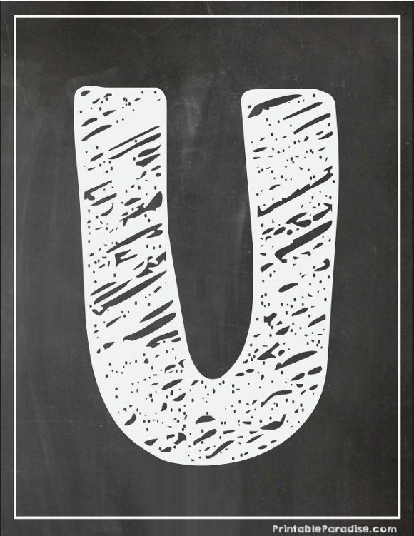 Printable Letter U Chalkboard Writing