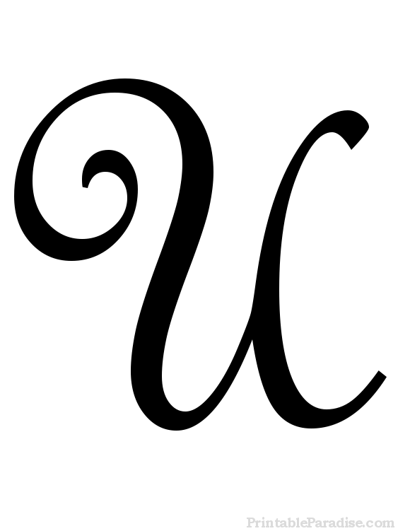 Printable Letter U in Cursive Writing