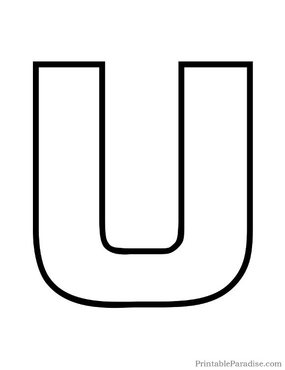Printable Letter U Outline - Print Bubble Letter U