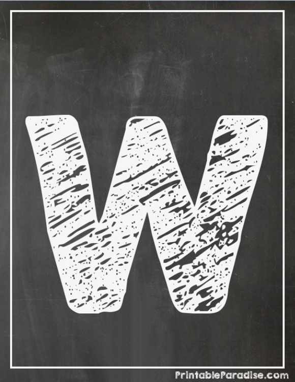 Printable Letter W Chalkboard Writing - Print Chalky Letter W