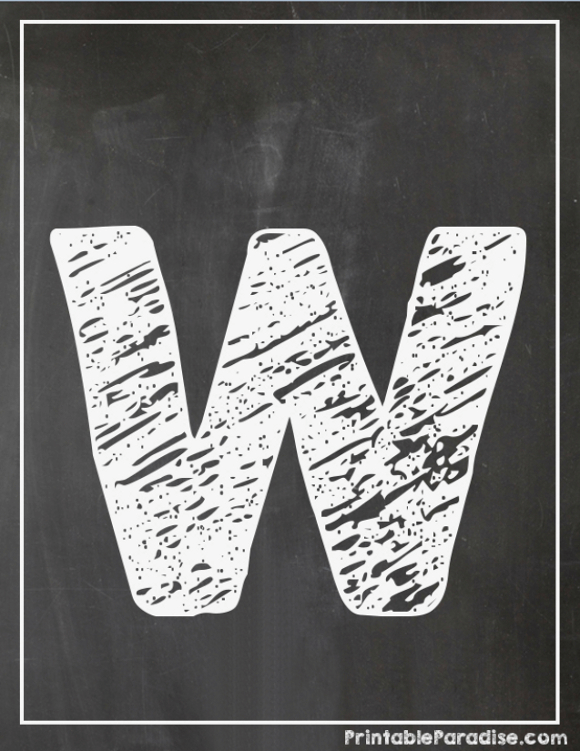 Printable Letter W Chalkboard Writing