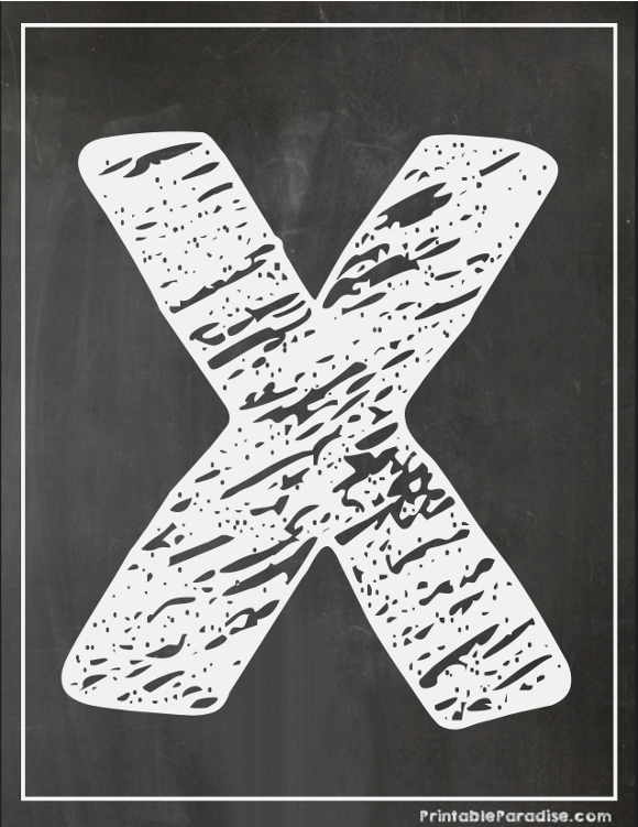 Printable Letter X Chalkboard Writing