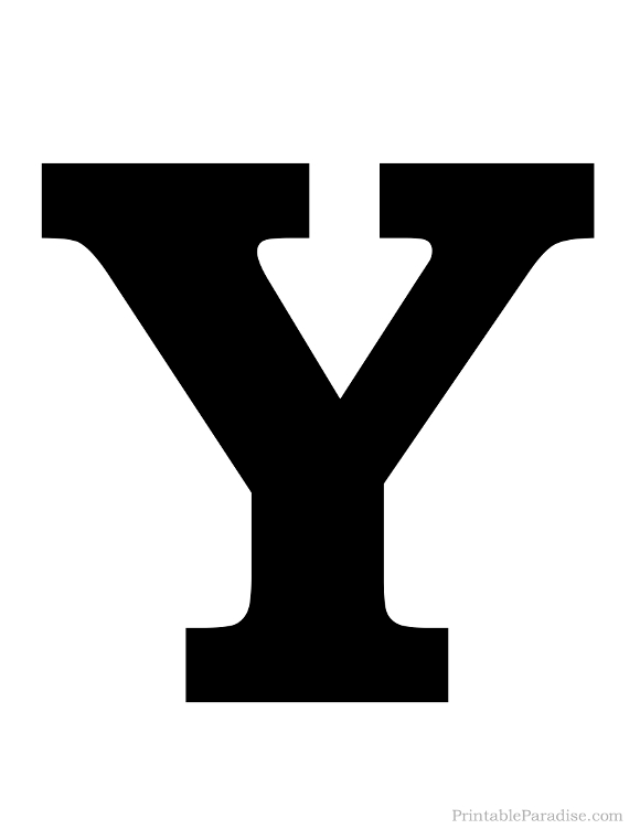 Printable Solid Black Letter Y Silhouette