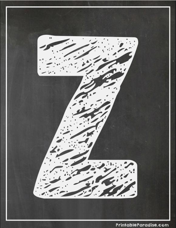 Printable Letter Z Chalkboard Writing