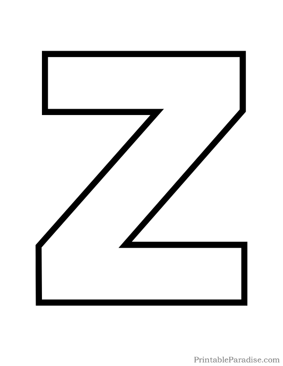 Printable Letter Z Outline - Print Bubble Letter Z