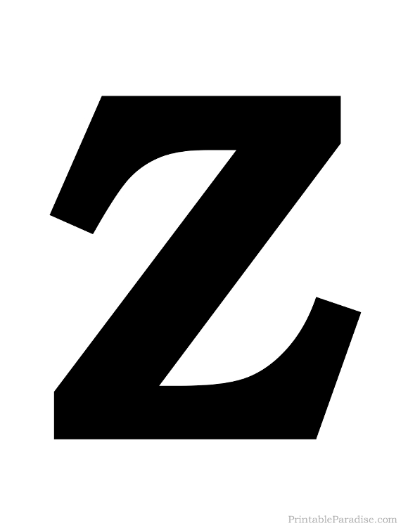 Amazing Printable Solid Black Letter Z Silhouette