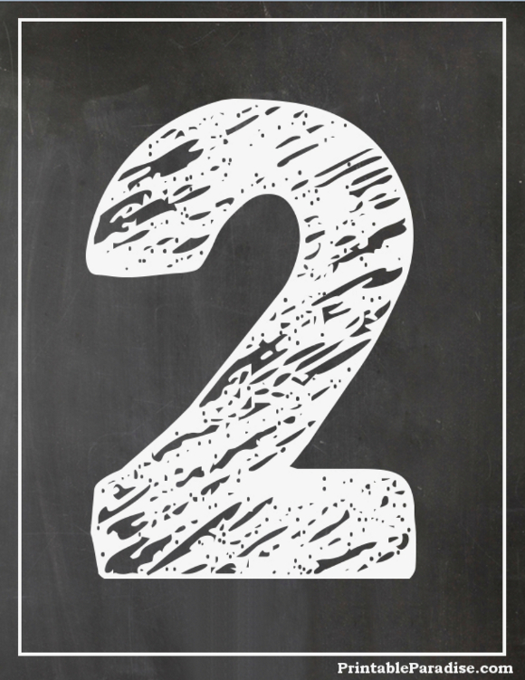 Printable Number 2 With Chalkboard Effect