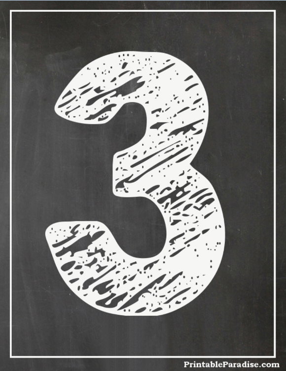 Printable Number 3 With Chalkboard Effect