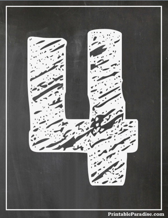 Printable Number 4 With Chalkboard Effect