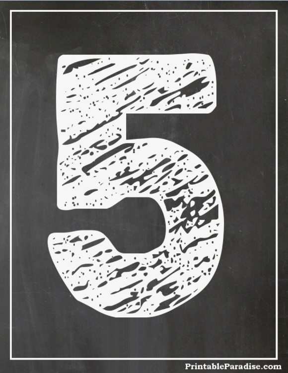 Printable Bubble Number 5 With Chalkboard Effect