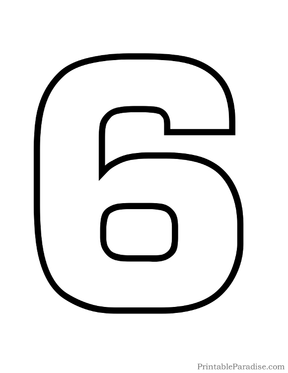 Printable Bubble Number 6 Outline