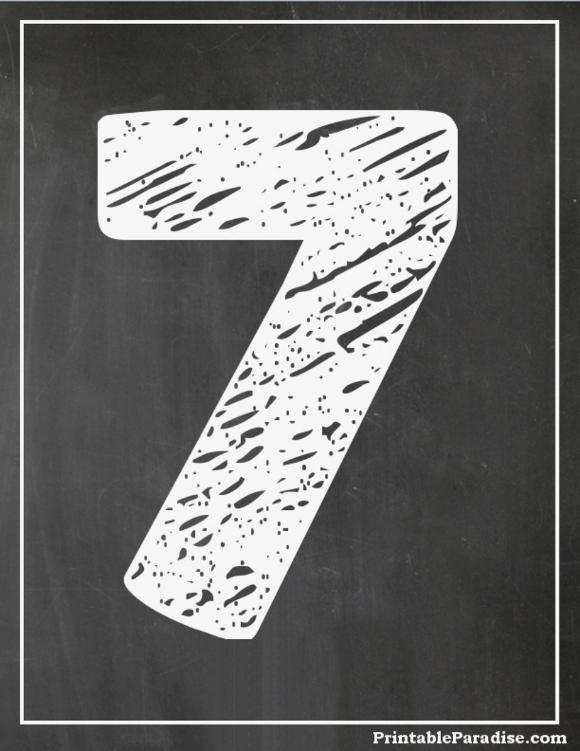 Printable Number 7 With Chalkboard Effect