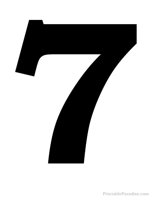 Printable Number 7 Silhouette Print Solid Black Number 7