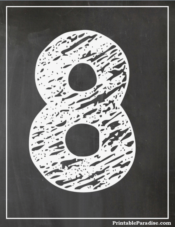 printable number 8 with chalkboard effect