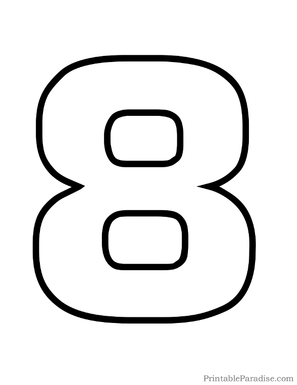 Printable Bubble Number 8 Outline