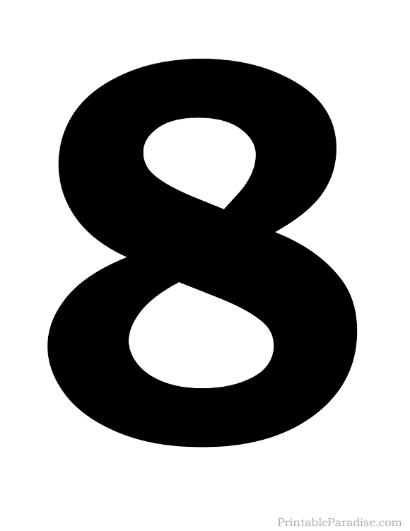 Printable Solid Black Number 8 Silhouette