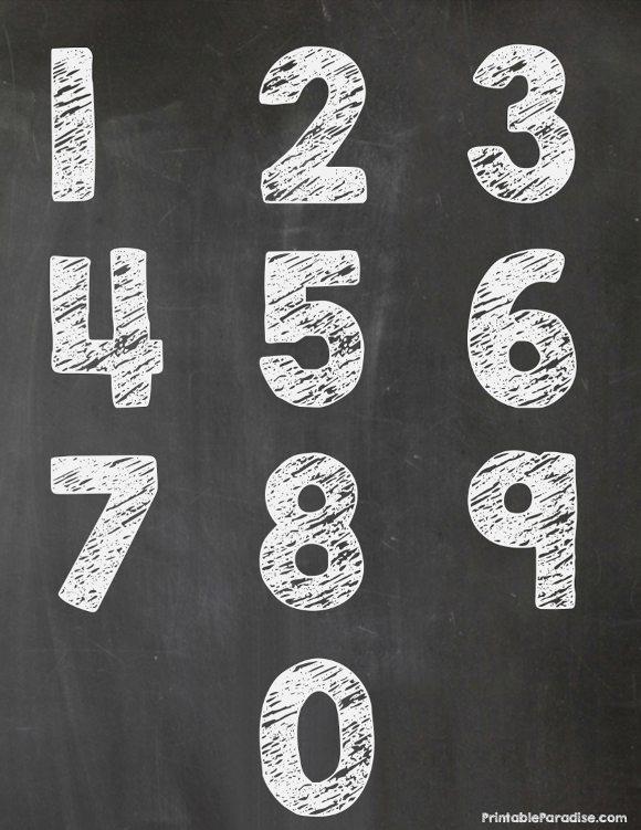 Printable Chalkboard Numbers 0-9